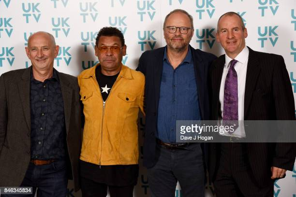 Doug Naylor Craig Charles Robert Llewellyn and Chris Barrie attend the UKTV Live 2017 photocall at Claridges Hotel on September 13 2017 in London...