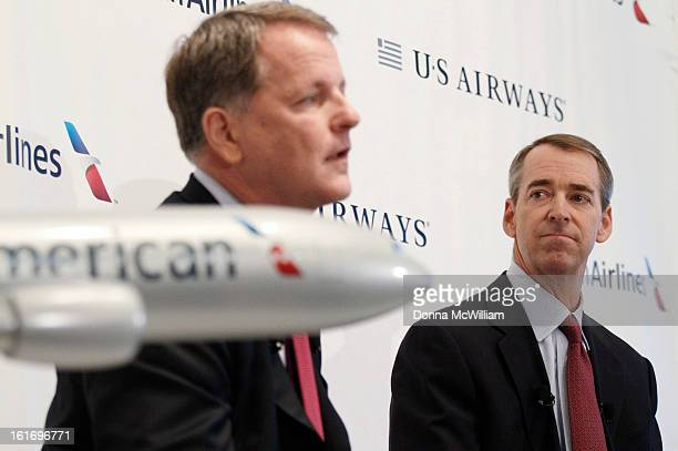 Doug Parker Chairman and CEO of US Airways and Thomas Horton Chairman President and Chief Executive Officer of American Airlines speak during a news...