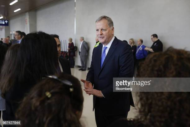Doug Parker chairman and chief executive officer of American Airlines Group Inc speaks with employees during an event to mark the opening of five new...