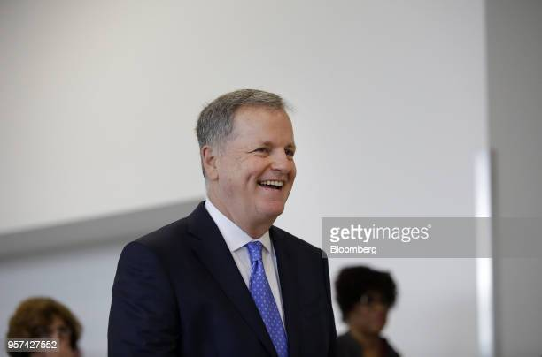 Doug Parker chairman and chief executive officer of American Airlines Group Inc smiles during an event to mark the opening of five new gates inside...