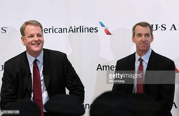 Doug Parker chief executive officer of US Airways Group Inc left and Tom Horton president and chief executive officer of AMR Corp's American Airlines...