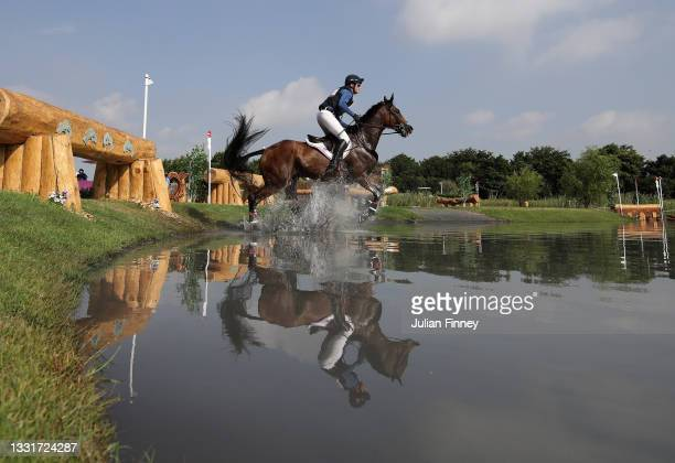 Doug Payne of Team United States riding Vandiver clears a jump during the Eventing Cross Country Team and Individual on day nine of the Tokyo 2020...