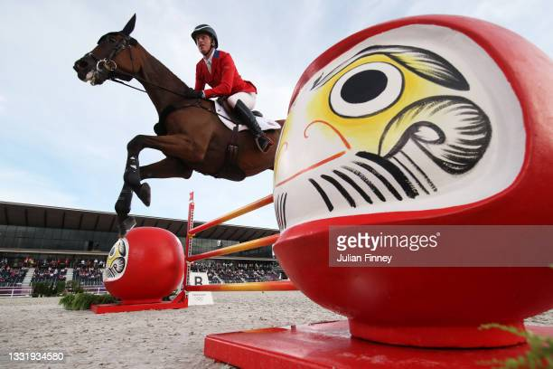 Doug Payne of Team United States riding Vandiver competes during the Eventing Jumping Team Final and Individual Qualifier on day ten of the Tokyo...