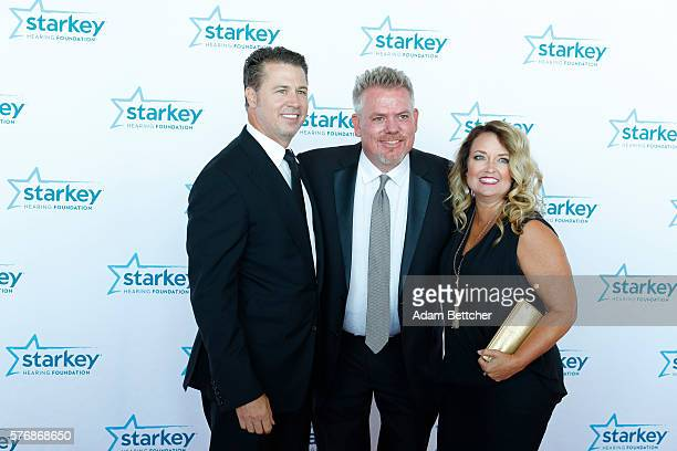 Doug Pitt wife Lisa Pitt and Brady Forseth pose on the red carpet at the 2016 Starkey Hearing Foundation So the World May Hear awards gala at the St...