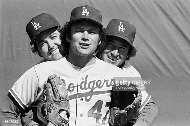 Doug Rau Andy Messersmith and Charlie Hough of the Los Angeles Dodgers during the 1979 season