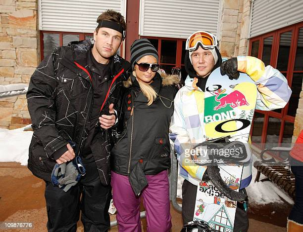 Doug Reinhardt Paris Hilton and Heikki Sorsa attend Oakley Learn To Ride Snowboard fueled by Muscle Milk at Oakley Lodge on January 23 2010 in Park...
