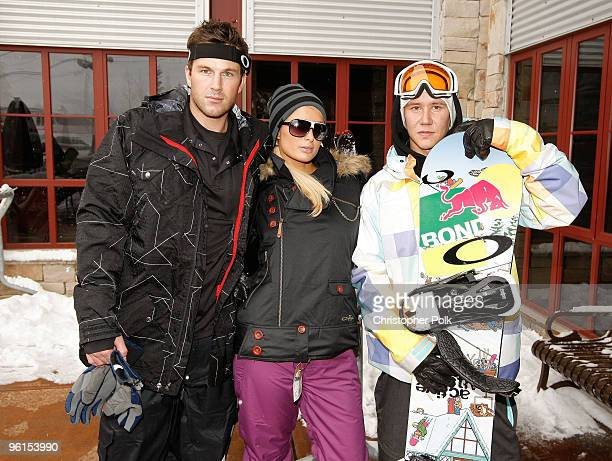 Doug Reinhardt Paris Hilton and Heikki Sorsa attend Oakley 'Learn To Ride' Snowboard fueled by Muscle Milk at Oakley Lodge on January 23 2010 in Park...