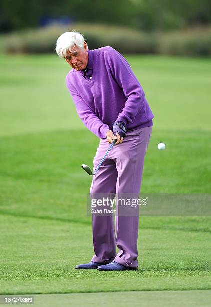 Doug Sanders chips onto the first green during the final round of the Demaret Division at the Liberty Mutual Insurance Legends of Golf at The Westin...