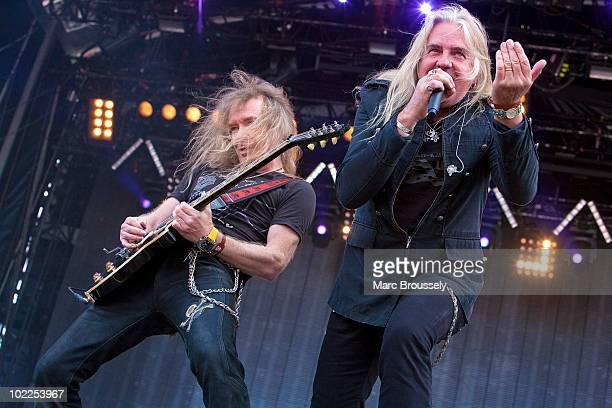 Doug Scarratt and Biff Byford of Saxon perform on stage at Hellfest Festival on June 20 2010 in Clisson France