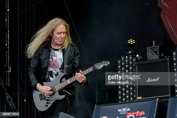 Doug Scarratt of Saxon performs on stage during the second day of the Wacken Open Air festival on August 4 2016 in Wacken Germany