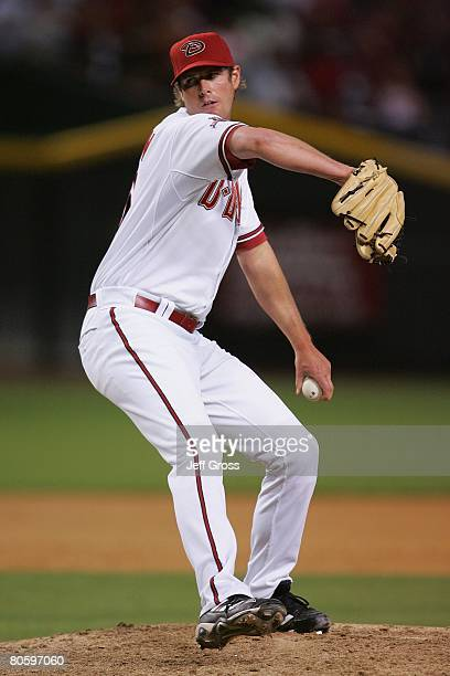 Doug Slaten of the Arizona Diamondbacks pitches against the Los Angeles Dodgers at Chase Field on April 7 2008 in Phoenix Arizona