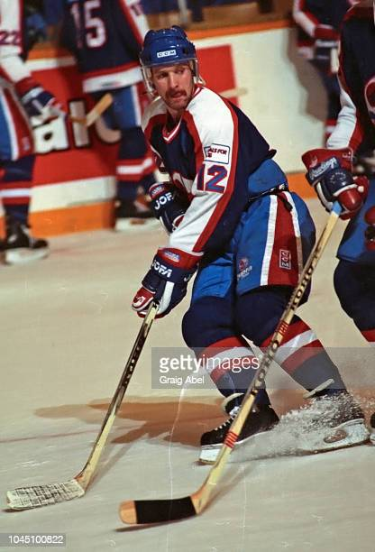 Doug Smail of the Winnipeg Jets skates against the Toronto Maple Leafs during NHL game action on March 17 1990 at Air Canada Centre in Toronto...