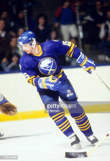 Doug Smith of the Buffalo Sabres skates on the ice during an NHL game against the New York Islanders on February 6 1988 at the Nassau Coliseum in...