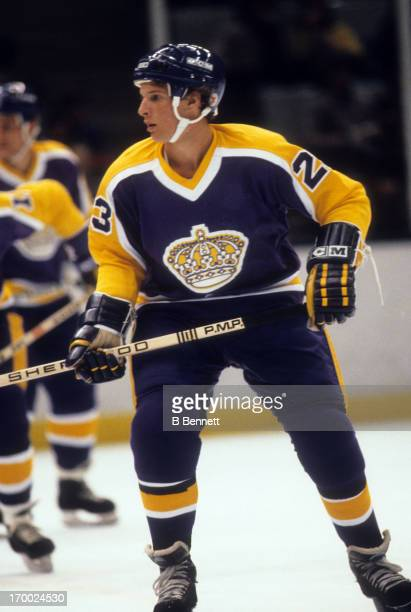 Doug Smith of the Los Angeles Kings skates on the ice during an NHL game against the New York Islanders on October 20 1981 at the Nassau Coliseum in...