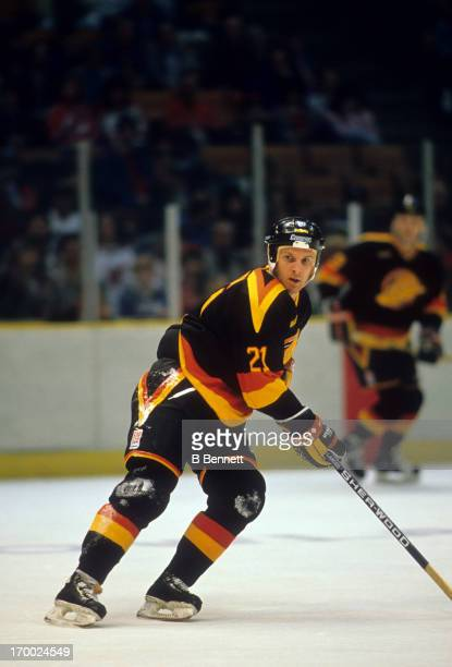 Doug Smith of the Vancouver Canucks skates on the ice during an NHL game against the New Jersey Devils on March 20 1989 at the Brendan Byrne Arena in...
