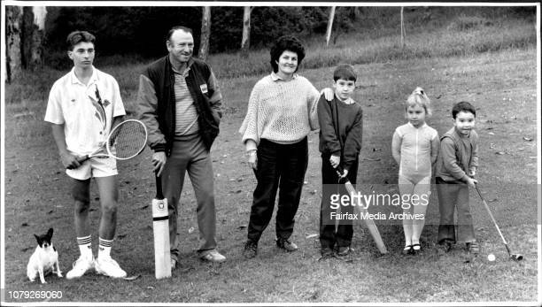 Doug Walters and his sporting family at their Carlingford homeL toR Spotty Brynley 14 yrs Doug Caroline Lynton 8yrs Hannah and Mitchell 3yrs June 07...