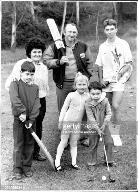 Doug Walters and his sporting family at their ***** homeLtoR Lynton 8 yrs Caroline Doug Hannah Physical Culture Mitchell 3rd and Brynley 14yrs...