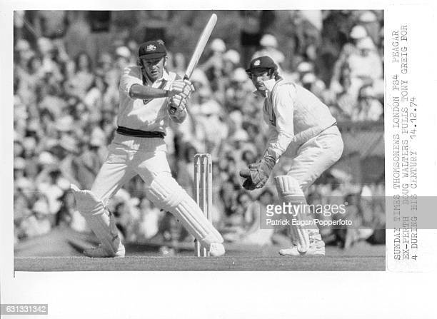 Doug Walters of Australia hits England bowler Tony Greig for 4 during his innings of 103 in the 2nd Test match between Australia and England at the...