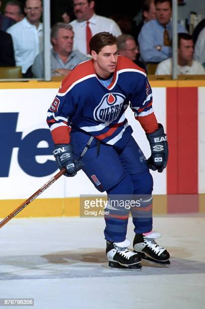 Doug Weight of the Edmonton Oilers skates against the Toronto Maple Leafs during NHL game action on December 23 1995 at Maple Leaf Gardens in Toronto...
