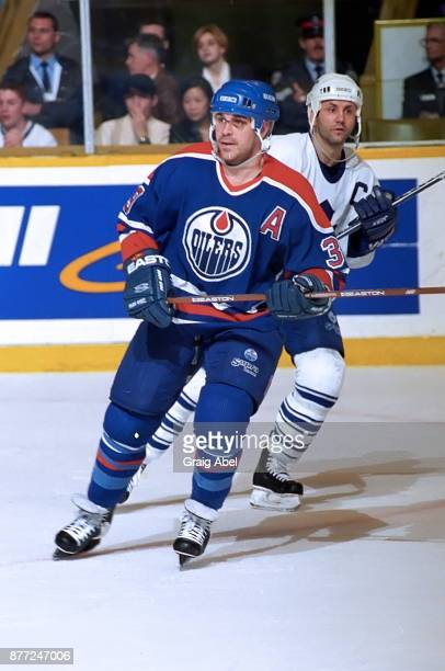 Doug Weight of the Edmonton Oilers skates against the Toronto Maple Leafs during NHL game action on April 13 1996 at Maple Leaf Gardens in Toronto...