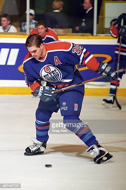Doug Weight of the Edmonton Oilers skates in warmup prior to a game against the Toronto Maple Leafs on April 13 1996 at Maple Leaf Gardens in Toronto...
