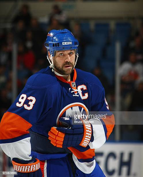Doug Weight of the New York Islanders skates against the San Jose Sharks at the Nassau Coliseum on October 17 2009 in Uniondale New York