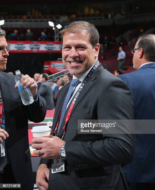 Doug Weight of the New York Islanders works the 2017 NHL Draft at the United Center on June 23 2017 in Chicago Illinois