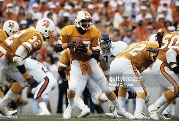 Doug Williams of the Tampa Bay Buccaneers goes back to pass during a NFL game against the Chicago Bears on November 1 1981 in Tampa Florida