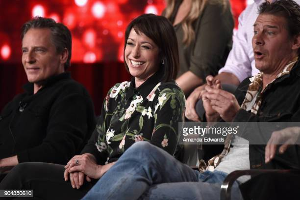 Doug Wilson Paige Davis and Ty Pennington of 'Trading Spaces' onstage during the TLC portion of the Discovery Communications Winter TCA Event 2018 at...