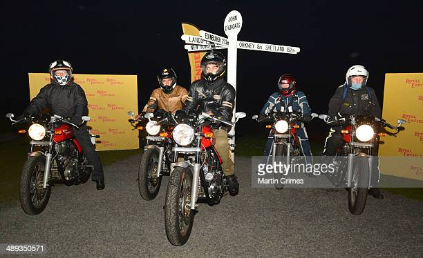 Doug Young Sachin Chavan Adarsh Saxena and Colin Johnstone and Philip Hogg commence Royal Enfield's 'Tip to Top' 50th anniversary ride repeating the...