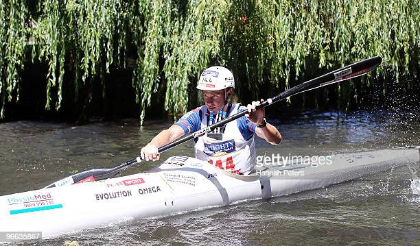 Dougal Allan kayaks down the Avon river during the one day event during the Speight's Coast to Coast on February 13 2010 in Christchurch New Zealand