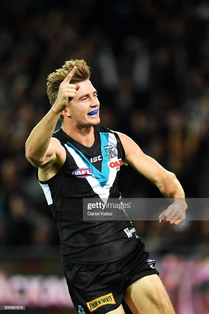Dougal Howard of the Power celebrates after kicking a goal during the round 21 AFL match between Port Adelaide Power and the Collingwood Magpies at Adelaide Oval on August 13, 2017 in Adelaide, Australia.