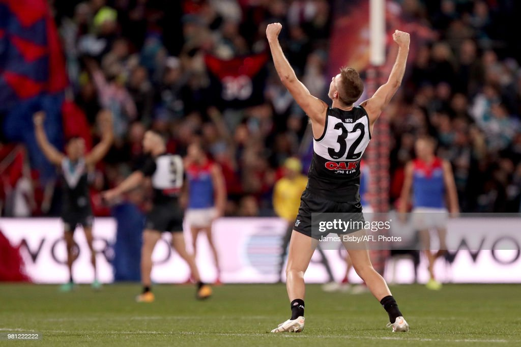 Dougal Howard of the Power celebrates their win during the 2018 AFL round 14 match between the Port Adelaide Power and the Melbourne Demons at Adelaide Oval on June 22, 2018 in Adelaide, Australia.