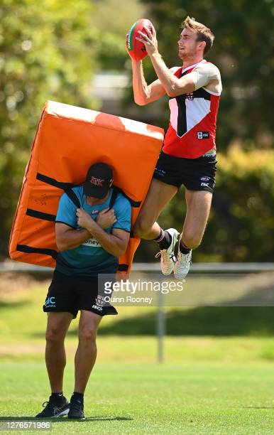 Dougal Howard of the Saints marks during a St Kilda Saints AFL training session at Maroochydore Multi Sport Complex on September 25 2020 in Sunshine...