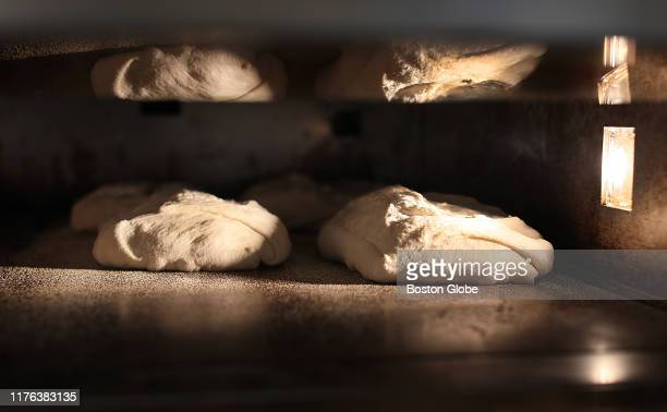 Dough is baked at retail pasta shop Durum on Oct 4 2019 in Lynn MA At Durum there is homemade organic pasta bread and prepared foods such as chicken...