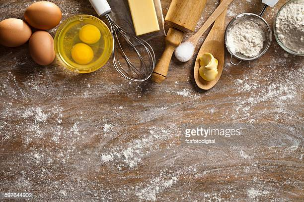 dough preparation and baking frame - cooking utensil stock photos and pictures