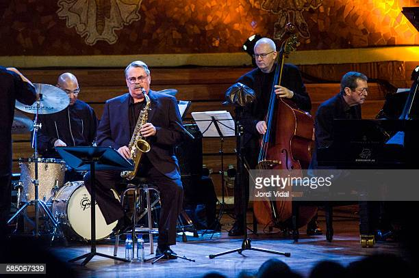 Dough Sides Phil Woods Jesper Lundgaard and Ben Aronov of Phil Woods Quartet perform on stage Bird with Stringsand more during Barcelona...