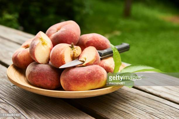 doughnut peaches - peach tree stock pictures, royalty-free photos & images