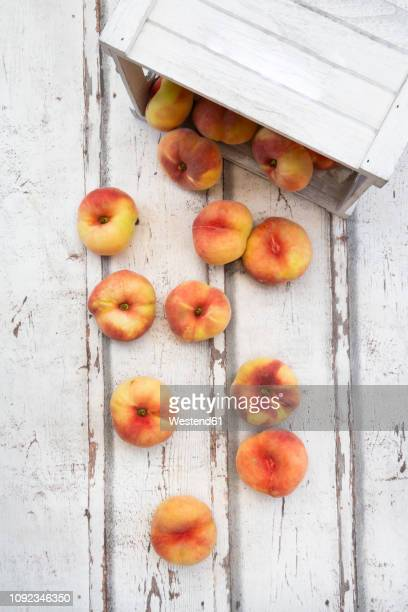 doughnut peaches, wooden box on white wood - peach tree stock pictures, royalty-free photos & images