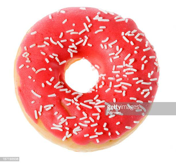 Doughnut with pink icing on white background