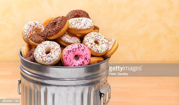 Doughnuts in bin