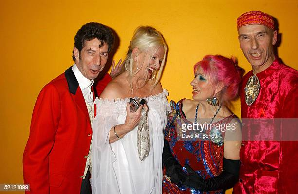 Dougie Field artist Jibby Beane fashion designer Zandra Rhodes and artist Andrew Logan attend the Zandra Rhodes A Lifelong Love Affair With Textiles...