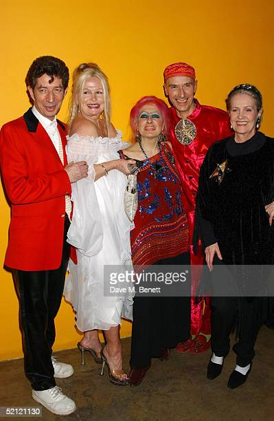 Dougie Field artist Jibby Beane fashion designer Zandra Rhodes artist Andrew Logan and Ulla Olson attend the Zandra Rhodes A Lifelong Love Affair...