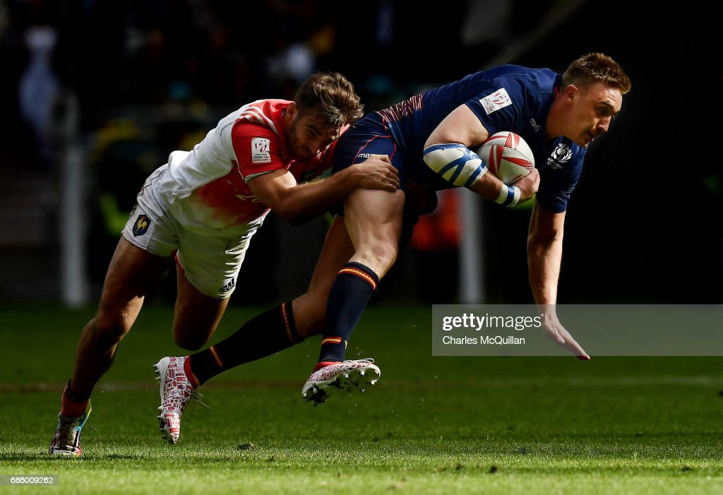 Dougie Fife (R) of Scotland and Jean Pascal Barraque (L) of France during the HSBC London Sevens at Twickenham Stadium on May 20, 2017 in London, United Kingdom.