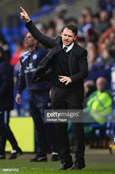 Dougie Freedman manager of Bolton Wanderers gives instructions during the Sky Bet Championship match between Bolton Wanderers and Leicester City at...