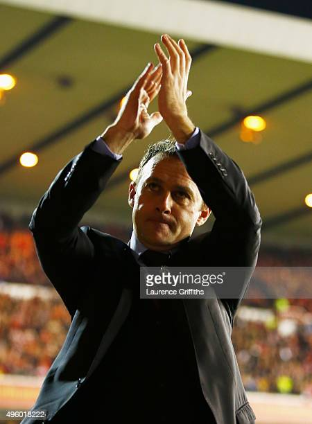 Dougie Freedman manager of Nottingham Forest applauds the crowd prior to the Sky Bet Championship match between Nottingham Forest and Derby County at...