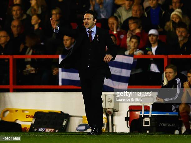 Dougie Freedman manager of Nottingham Forest gives instructions during the Sky Bet Championship match between Nottingham Forest and Derby County at...