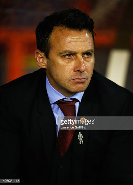 Dougie Freedman manager of Nottingham Forest looks on prior to the Sky Bet Championship match between Nottingham Forest and Derby County at City...