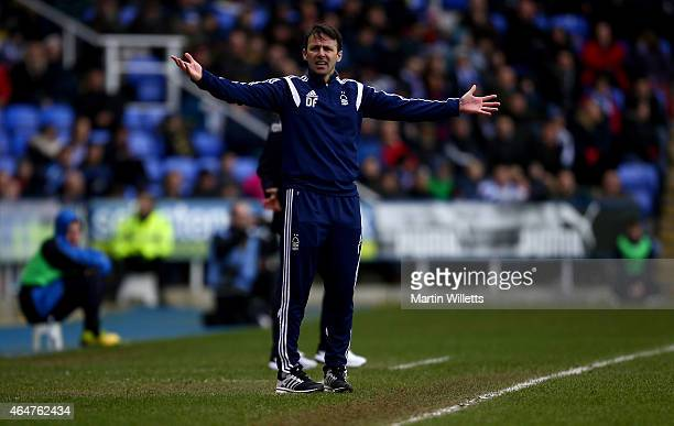 Dougie Freedman manager of Nottingham Forest reacts during the Sky Bet Championship match between Reading and Nottingham Forest at Madejski Stadium...