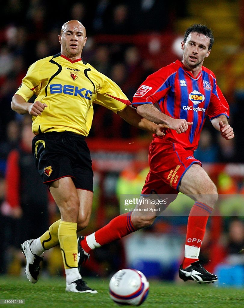 Dougie Freedman of Crystal Palace (right) and Gavin Mahon of Watford in action during the Crystal Palace and Watford Championship match at Selhurst Park Stadium , London , UK on 29th October 2007.